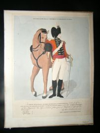 Military 1799 Hand Col Costume Engraving. Second Regiment of Dragoon Guards